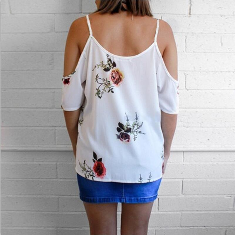 Womens Cold Shoulder Floral Summer Tops Ladies Loose Casual Cross Front Blouse Tee T Shirt | Edlpe