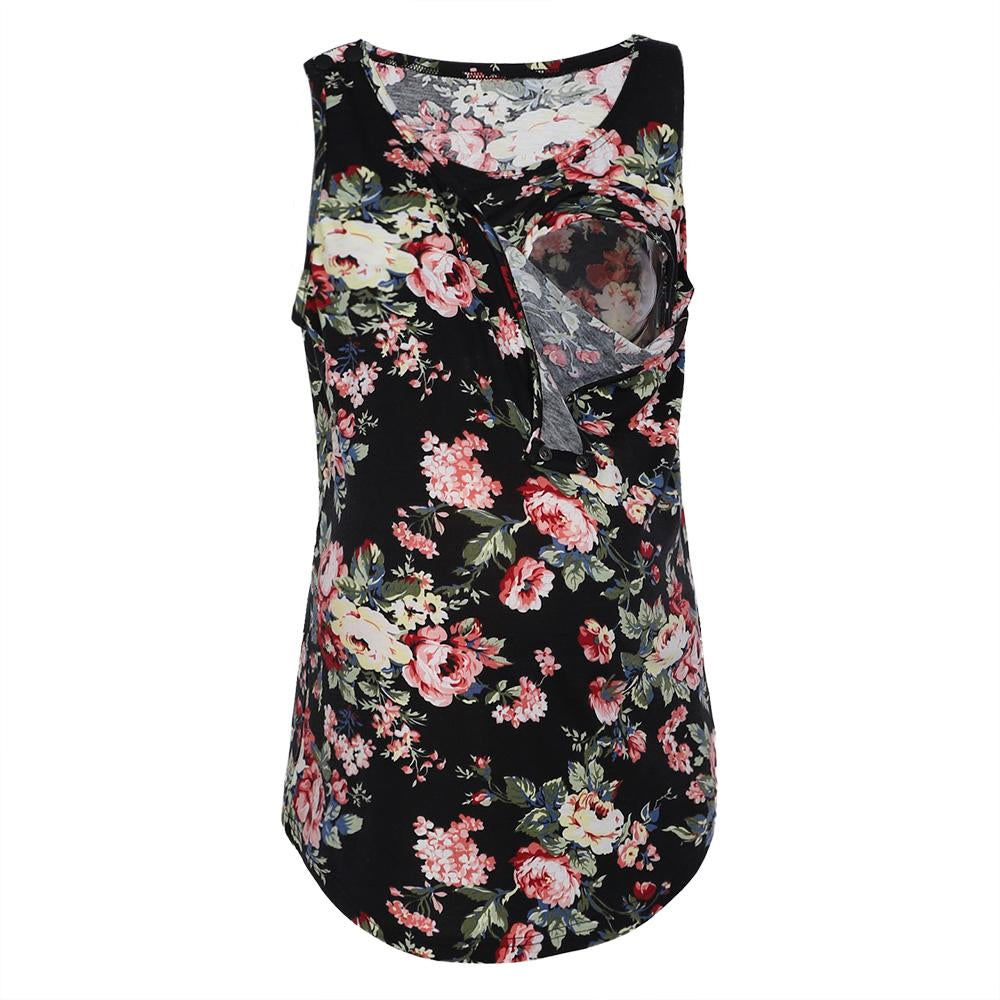 Vintage Breastfeeding Floral Painted Sleeveless Maternity Vest Top | Edlpe