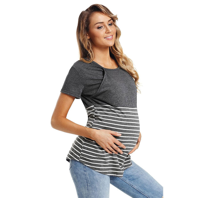 Women Daily Wear Casual Pregnancy Breastfeeding Nursing Top Striped Maternity Clothes Cotton Blouse | Edlpe