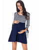 Image of Casual Nursing 3 Quarters Sleeves Stripe Stitching Maternity Mini Dress | Edlpe