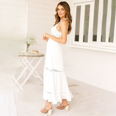 Women Deep V Halter Neck Lace Maxi Dress Summer Beach Backless Long Sundress
