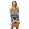 Image of Womens Holiday Boho Cold Shoulder Mini Playsuit Ladies Short Jumpsuit Summer Beach Sundress | Edlpe