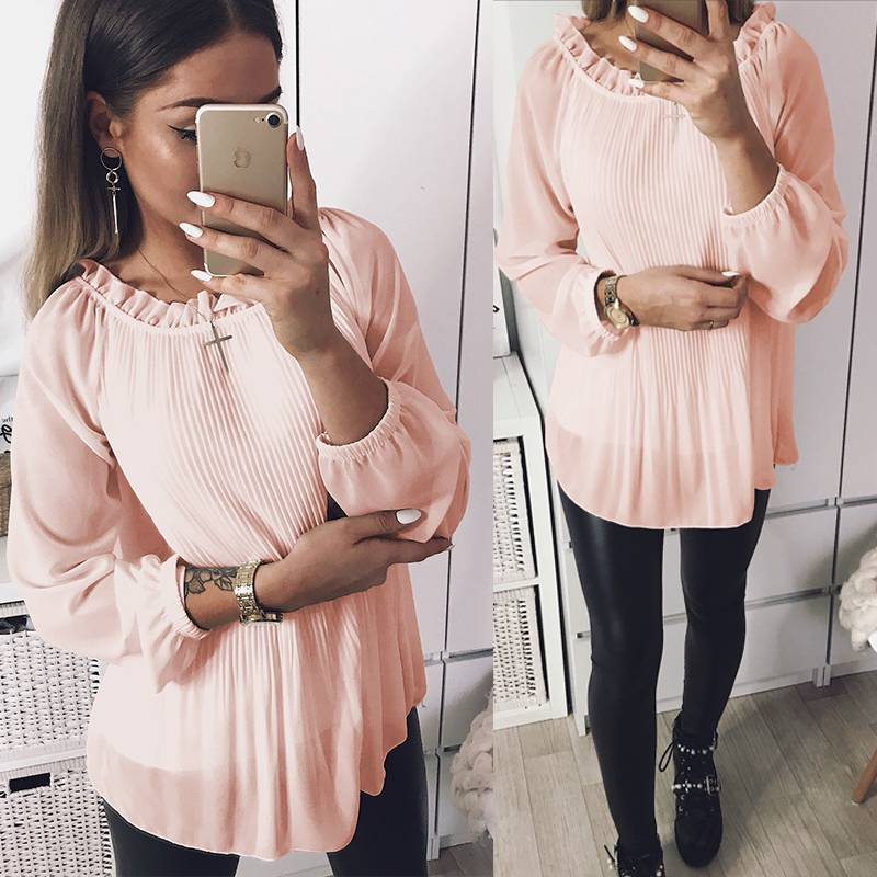 Women Ruffle Frill O Neck Long Sleeve Pleated Tops Casual Solid Elegant Blouse