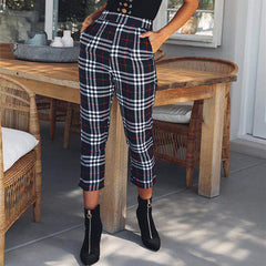 Women High Waist Casual Pants Ladies Check Plaid Tartan Slim Skinny Fit Trousers | Edlpe