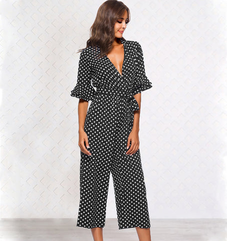 Womens Polka Dot Holiday Wide Leg Pants Long Jumpsuit Ladies V-Neck Playsuit | Edlpe