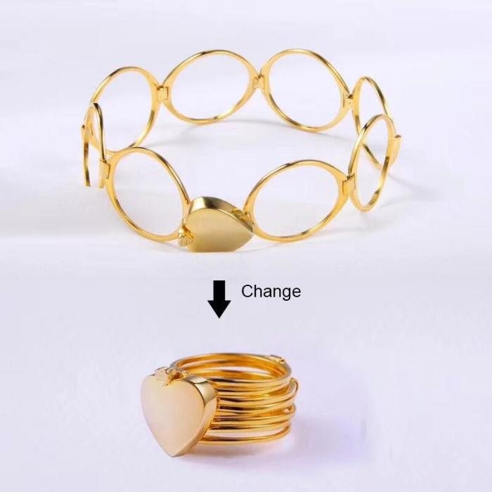 Copper Stretch Ring Changing Bracelet Deformable Dual-Use Lord Folding Love Jewelry | Edlpe