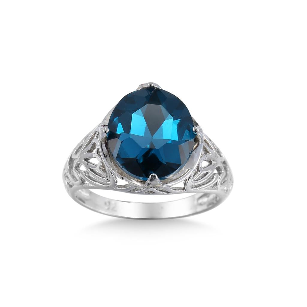 Hollow Round Blue Zircon Rings Women Wedding Party Exquisite Carving Jewelry | Edlpe