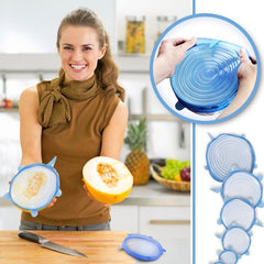 6pcs Reusable Multi-Purpose Convenient Seal Cover Kit Stretchable Silicone Lids Cover Food Kitchen