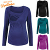 Image of Autumn Maternity Pure Color Long Sleeves Round Neck Nursing Blouse | Edlpe