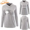 Image of Long Sleeved Striped Breastfeeding Hoodie Tops Nursing Blouse | Edlpe