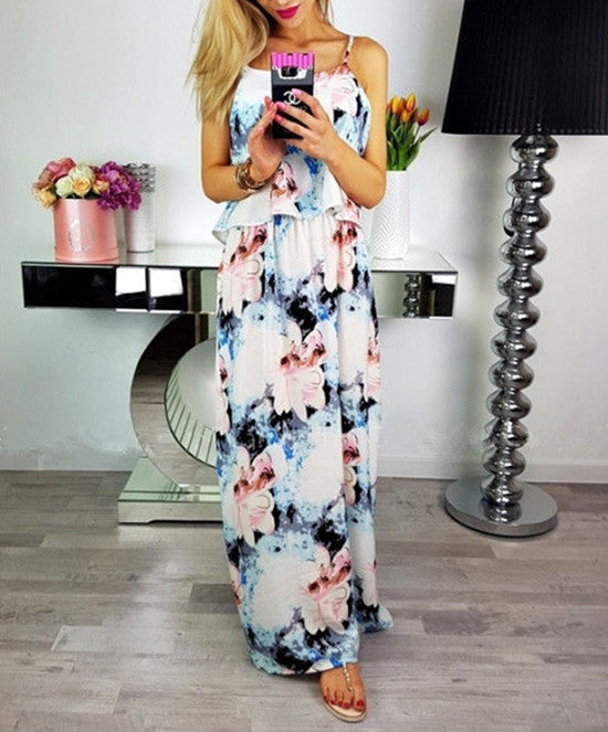 Women Sexy Boho Long Maxi Dress Strap Party Cocktail Summer Beach Floral Sundress | Edlpe