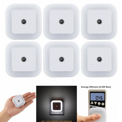 6Pcs Plug-In Led Night Light Automatic Sensor Wall Lamp Energy Saving Light Kid | Edlpe