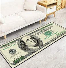 One Hundred Dollar Rugs 100 Bill Print Rubber Ultrathin Area Rug Doormat Nat-Rubber | Edlpe