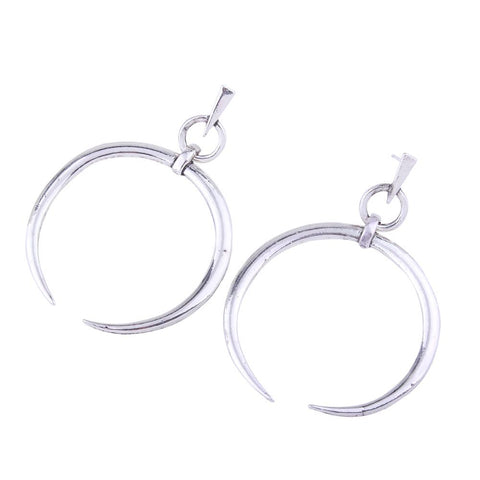 Ladies Wild Stud Personality Exaggerated Metal Large Crescent Pendant Earrings | Edlpe