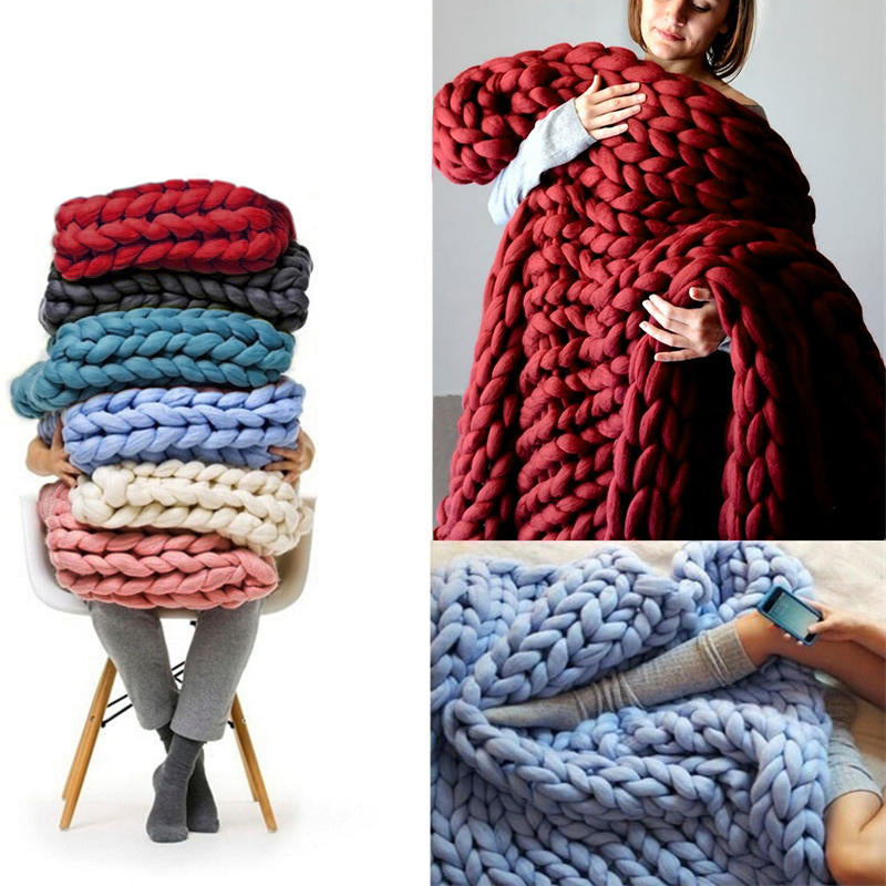 Soft Warm Hand Chunky Knit Blanket Thick Yarn Wool Bulky Bed Spread Throw | Edlpe