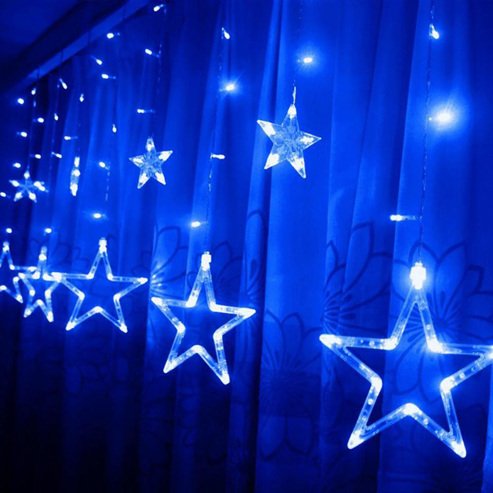 8 Modes 12 Stars Hanging Curtain String Lights Window Icicle Christmas Backdrops | Edlpe