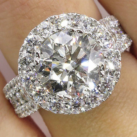 Women Crystal Wedding Engagement Band Micro Diamond Rings Jewelry Gifts | Edlpe
