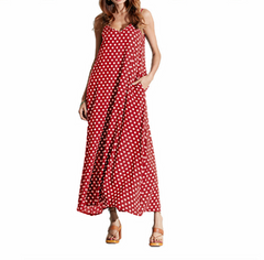 Women's Loose Maxi Dress Sling Polka Dot Pocket V-neck Summer Casual Long Dress Plus Size S-5XL