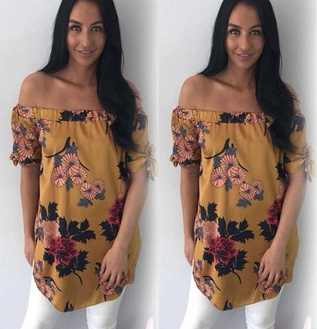 Womens Off Shoulder Floral Loose Blouse Ladies Summer Holiday Short Sleeve Tops | Edlpe