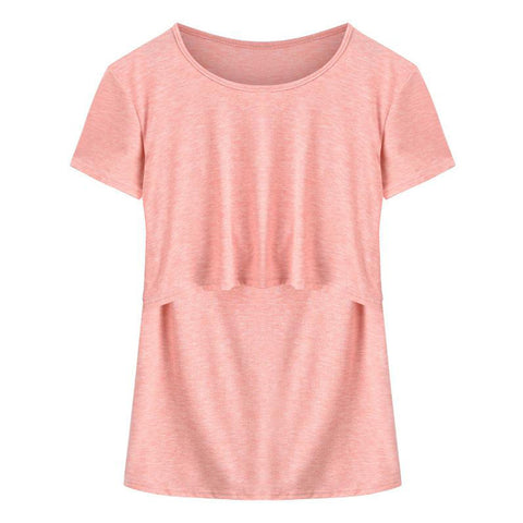 Mother Wear Pure Color Breastfeeding Round Neck T-Shirt Top | Edlpe