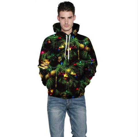Christmas tree digital print sweater hoodies