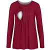 Image of Autumn Breastfeeding Pure Color Layer Long Sleeves Blouse | Edlpe