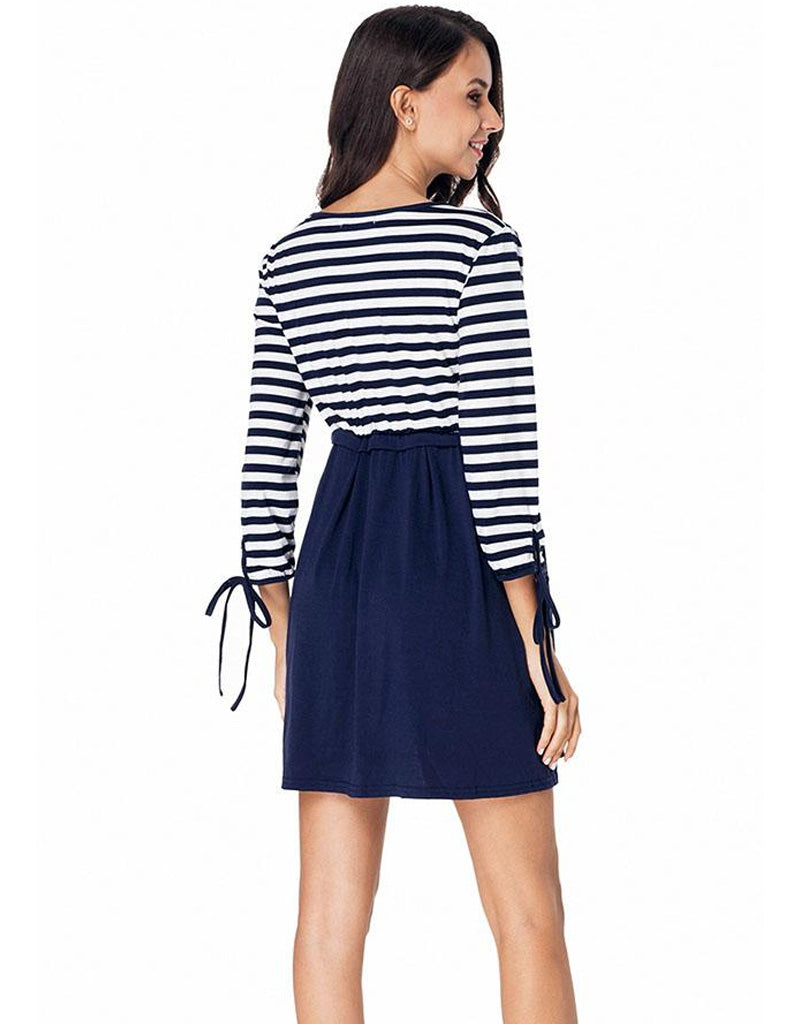 Casual Nursing 3 Quarters Sleeves Stripe Stitching Maternity Mini Dress | Edlpe