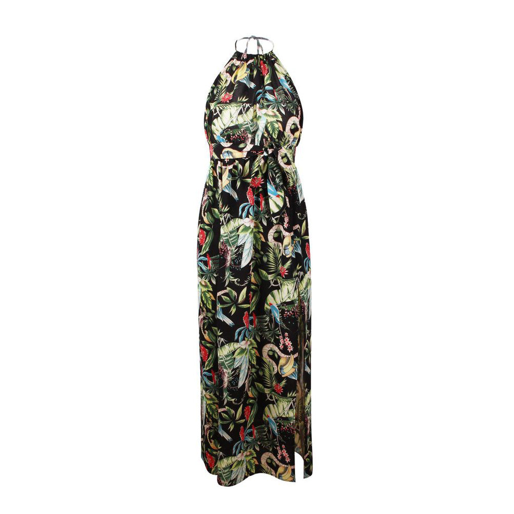 Sexy Womens Backless Floral Neck Holder Maxi Dress Holiday Sling Split Long Beach Sundress | Edlpe