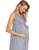 Image of Maternity Breastfeeding Lace Stitching Sleeveless High Waist Dress | Edlpe