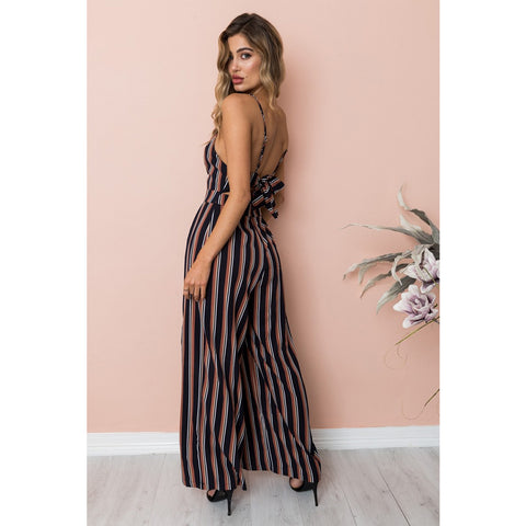 Womens V Neck Backless Romper Striped Floral Playsuit Ladies Holiday Beach Dress Long Jumpsuit | Edlpe