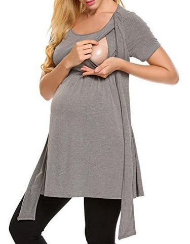 Soild Color Breastfeeding Maternity Tie Front High Waist T-Shirt Dress | Edlpe