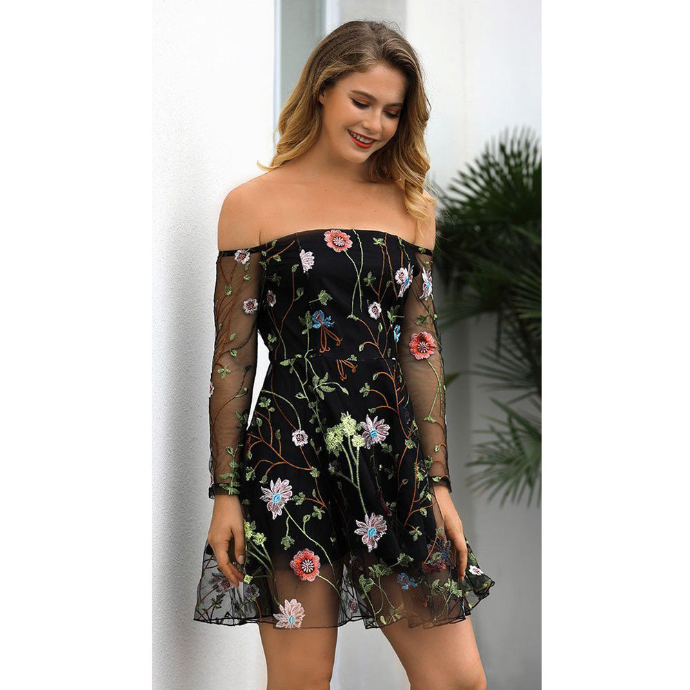 Sexy Women Embroidery Gauze Layers Mini Dress Summer Long Sleeve Beach Party Dress | Edlpe