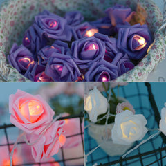 20/40 LED Rose Flower String Fairy Lights Battery/USB Power Wedding Xmas Decor