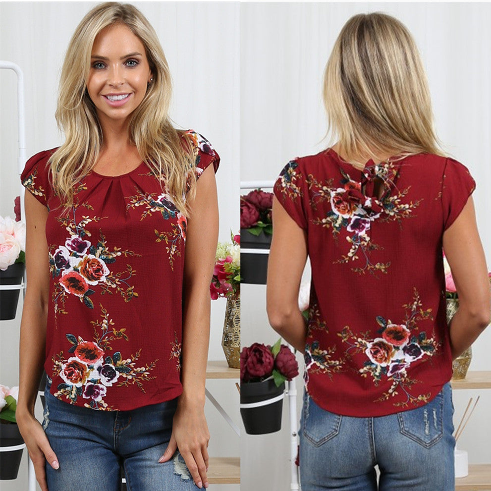 Summer Women Short Sleeve Chiffon Floral T Shirt Blouse Ladies Casual Loose Tops | Edlpe