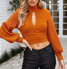 Autumn Women Sexy Long Sleeve Backless Belt Crop Sweater Tops Ladies Pullover