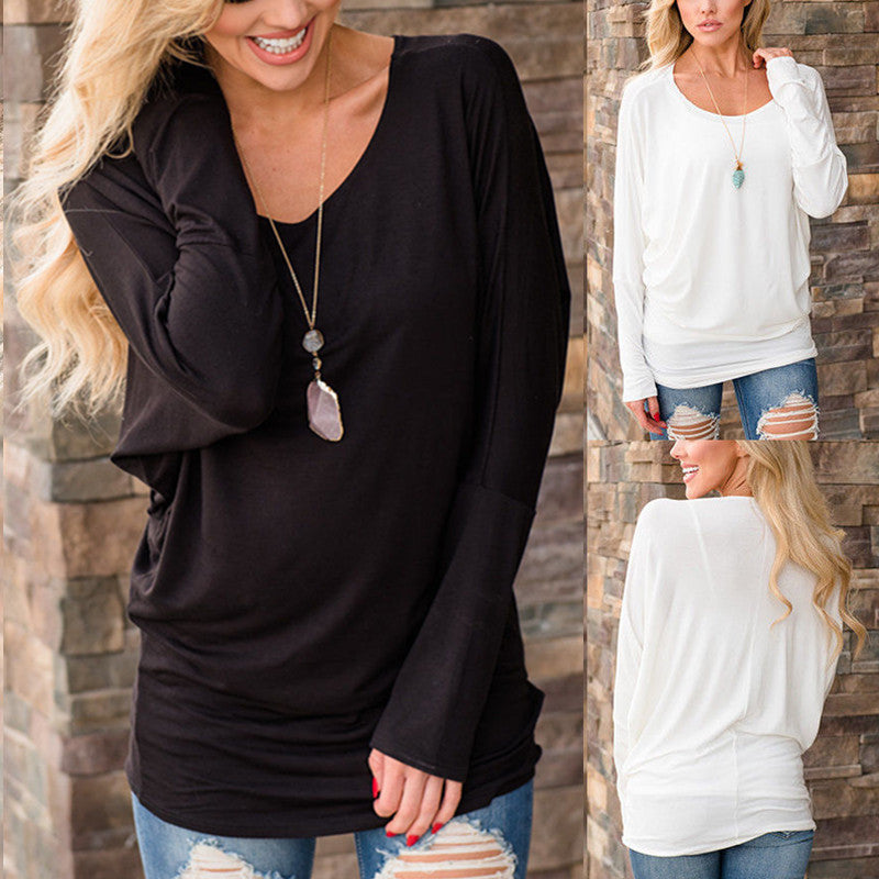 Women Solid Color Cotton Casual Tops O Neck Long Sleeve Autumn Blouse Loose Tee | Edlpe