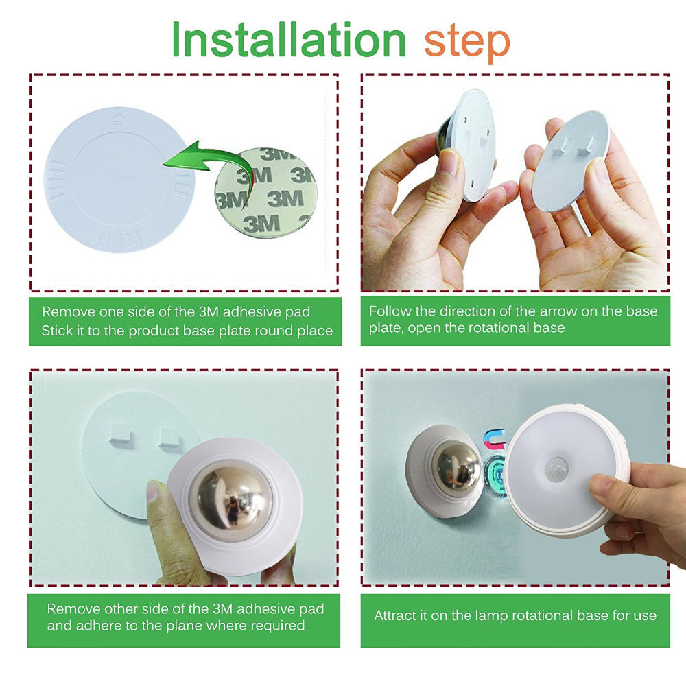 Rechargeable 360 Degree Rotating Led Motion Sensor Night Light Bedroom Wall Lamp | Edlpe