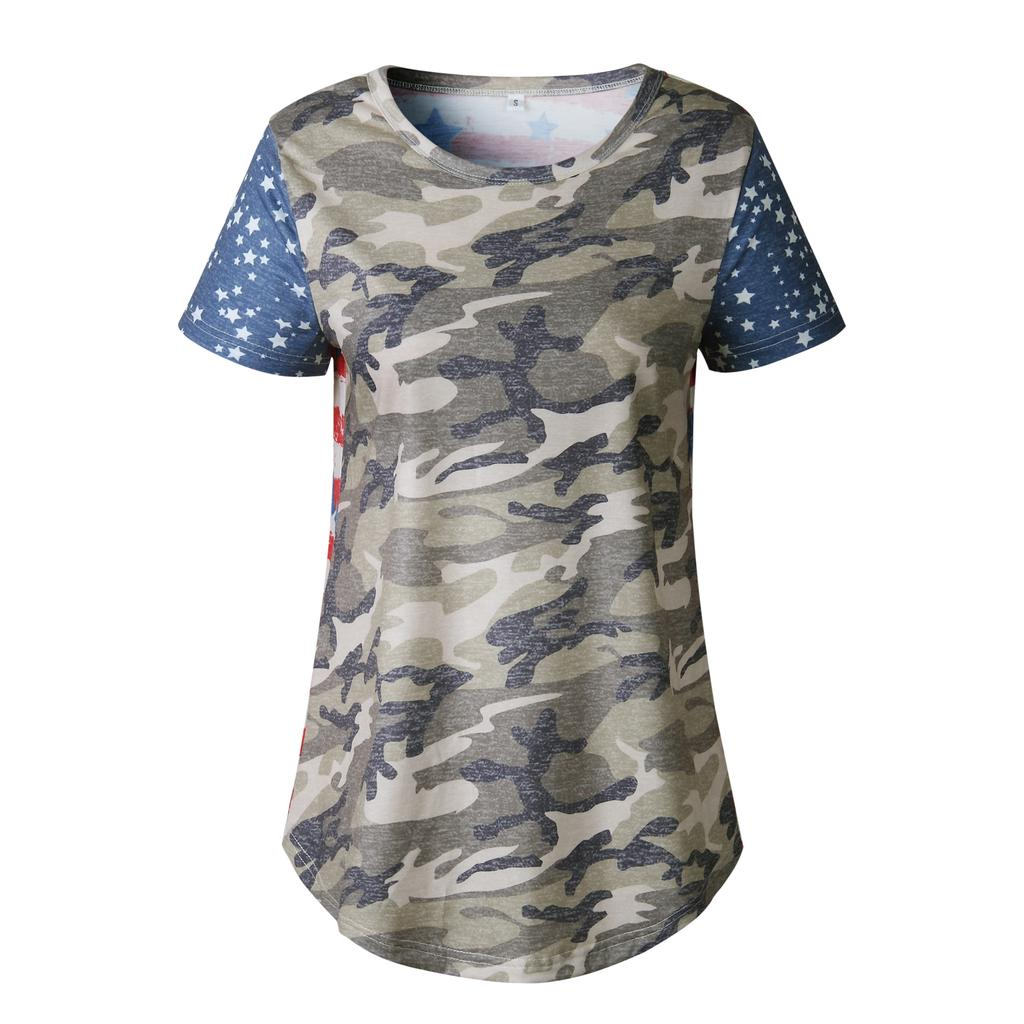 Womens Summer Casual Short Sleeve Camo&flag Print T Shirt Ladies Casual Tops Blouse | Edlpe