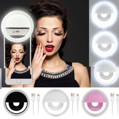 Rechargeable LED Ring Fill Light Selfie Light for iPhone Android Phone USB Cable