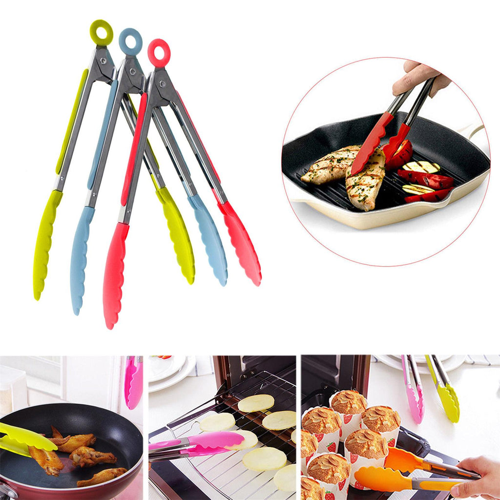 Stainless Steel Silicone Kitchen Tongs Bbq Clip Salad Bread Cooking Food Serving Tongs Kitchen Tools | Edlpe