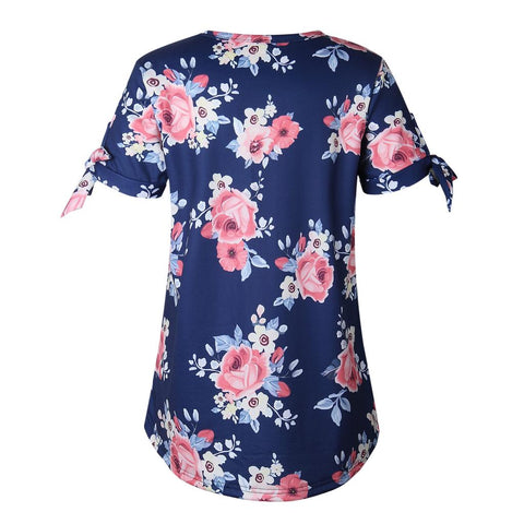 Womens Floral Print Short Sleeve Blouse Ladies Casual Crew Neck Summer Long Top Shirt | Edlpe