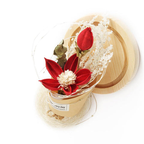 Led Dry Flowers Floral Preserved Romantic Birthday Valentines Day Gift | Edlpe