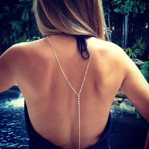 Body Jewelry Choker Sexy Beach Rhinestone Crystal Crossover Back Chain Necklace | Edlpe