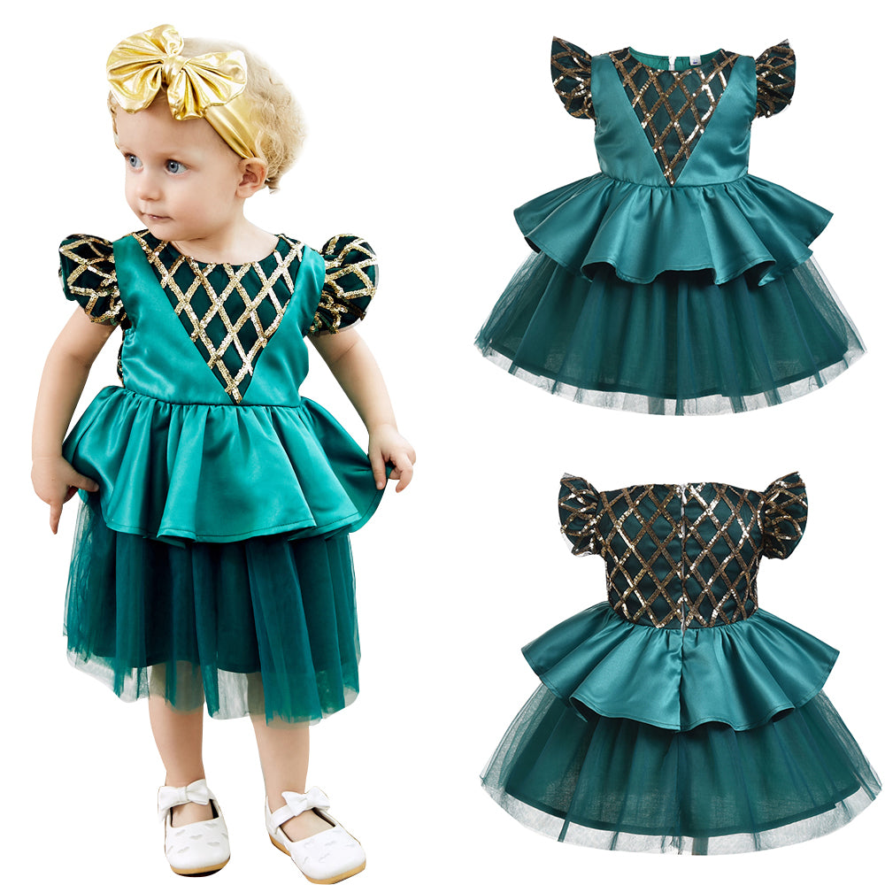 Toddler Baby Girl Floral Lace Skater Dress Wedding Bridesmaid Party Princess Tutu Dress | Edlpe