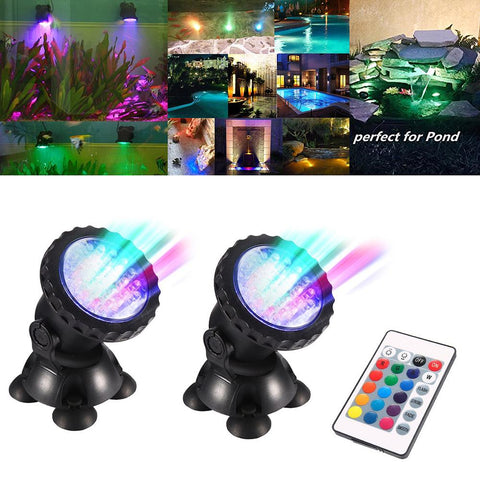 Garden Pond Light Remote Control Led Aquarium Light 1 Set 2 Lights Rgb 72 Leds Fish Tank Light | Edlpe