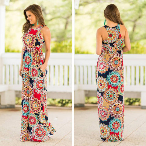 Boho Women Ladies Floral Sleeveless Long Maxi Dress Summer Beach Vest Dress | Edlpe