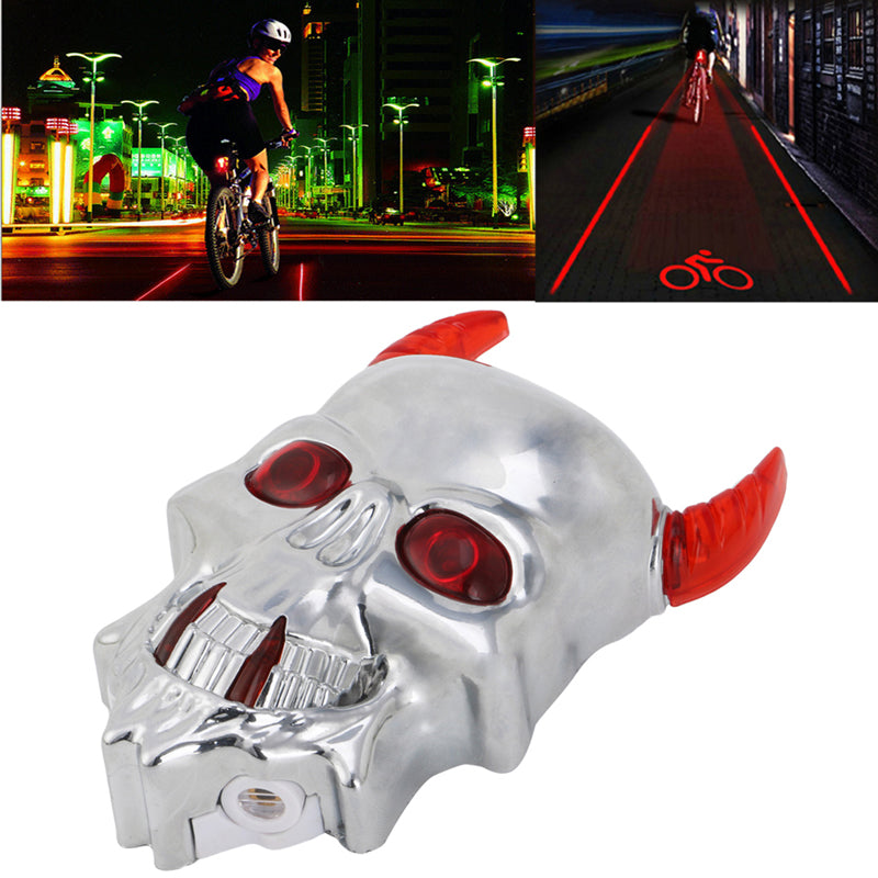 Bicycle Laser Taillight Skull Head Shaped Cycling Safety Warning Light 7 Modes | Edlpe