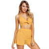 Image of Women 2 Pcs Summer Suit Front Bow Tie Crop Top+ Short Pants Trouser Beachwear | Edlpe