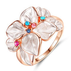 Women Jewelry Rose Gold Multi Petal Flower Ring Lady Wedding Rings Gift