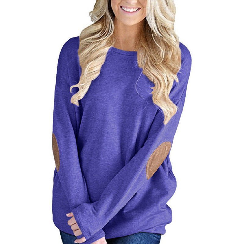 Women Crew Neck Long Sleeve Loose Blouse T Shirt Casual Jumper Pullover Tops | Edlpe